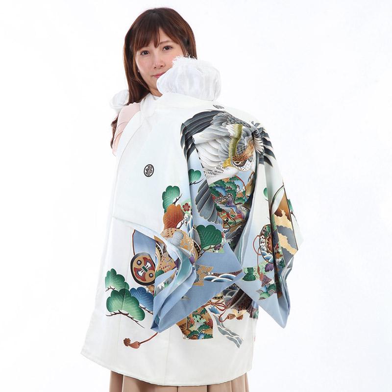 お宮参り衣装 【和装/男児】 白地 鷹に兜