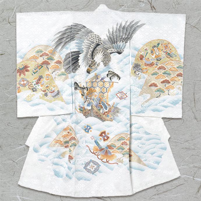 お宮参り衣装 【和装/男児】 白地 鷹に宝船
